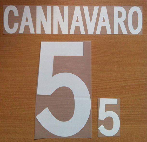 CANNAVARO 5 ITALY HOME WORLD CUP 2002 NAME NUMBER SET NAMESET KIT PRINT