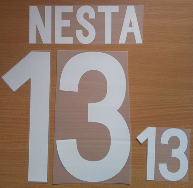 NESTA 13 ITALY HOME WORLD CUP 2002 NAME NUMBER SET NAMESET KIT PRINT NUMBERING