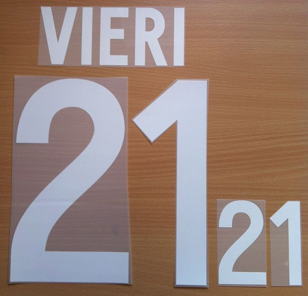 VIERI 21 ITALY HOME WORLD CUP 2002 NAME NUMBER SET NAMESET KIT PRINT NUMBERING