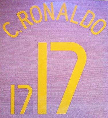 CRISTIANO RONALDO 17 PORTUGAL HOME WC 2006 NAME NUMBER SET NAMESET KIT PRINT