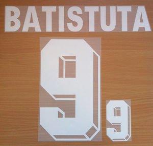 BATISTUTA 9 ARGENTINA AWAY WORLD CUP 1998 NAME NUMBER SET NAMESET KIT PRINT