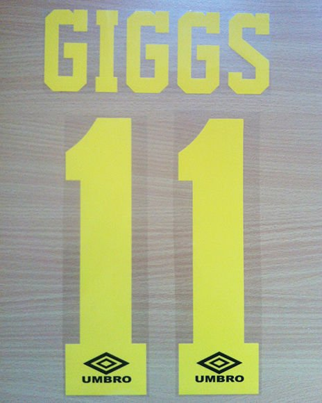 GIGGS 11 MANCHESTER UNITED THIRD 1992 1996 NAME NUMBER SET NAMESET PRINT