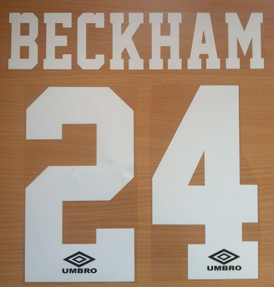BECKHAM 24 MANCHESTER UNITED HOME 1992 1996 NAME NUMBER SET NAMESET PRINT