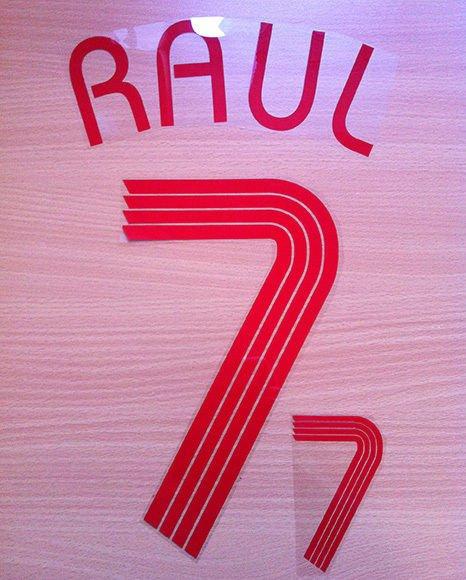 RAUL BLANCO 7 SPAIN AWAY WORLD CUP 2006 NAME NUMBER SET NAMESET KIT PRINT