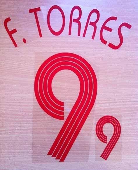 FERNANDO TORRES 9 SPAIN AWAY WORLD CUP 2006 NAME NUMBER SET NAMESET KIT PRINT