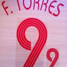 FERNANDO TORRES 9 SPAIN AWAY WORLD CUP 2006 NAME NUMBER SET NAMESET KIT PRINT