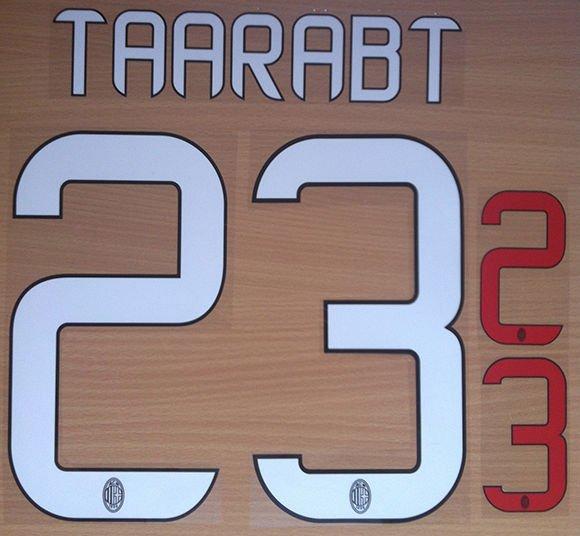 ADEL TAARABT 23 AC MILAN HOME 2013 2014 NAME NUMBER SET NAMESET KIT PRINT