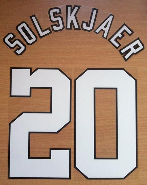 SOLSKJAER 20 MANCHESTER UNITED HOME 1996 1997 NAME NUMBER SET NAMESET PRINT