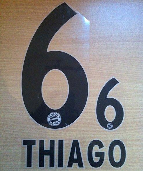 THIAGO 6 BAYERN MUNICH AWAY 2013 2014 NAME NUMBER SET NAMESET KIT PRINT FLOCK