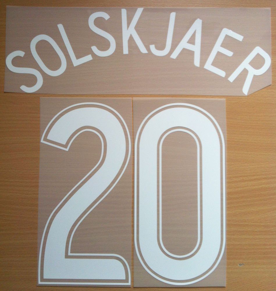 SOLSKJAER 20 MANCHESTER UNITED HOME UCL 2006 2007 NAME NUMBER SET NAMESET PRINT