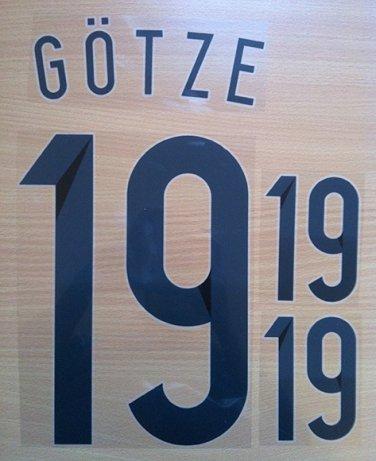 MARIO GOTZE 19 GERMANY HOME 2014 2015 NAME NUMBER SET NAMESET KIT PRINT WORLD CUP BRAZIL 2014