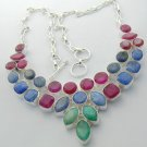 "73 Gms EMERALD, RUBY BLUE SAPPHIRE Silver Jewelry Necklace 21"" Adjustable N-04L4"
