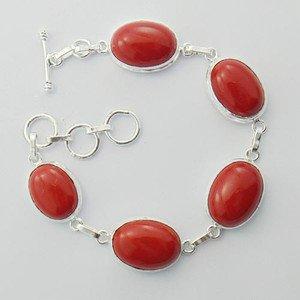 "Gorgeous RED CORAL 21gms Sterling Silver Jewelry Bracelet Sz-7.25"" BA-17L2"