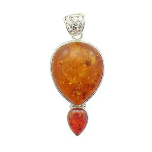 Natural AMBER Artisan Handcrafted  .925 Silver Jewelry Pendant P-20 L5