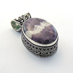 Amethyst lace agate AKA Chevron Amethyst  .925 Silver Jewelry Pendant P-27 L5