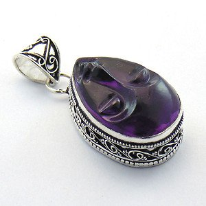 Handmade Amethyst Face Carving .925 Silver Jewelry Pendant P-25 L5