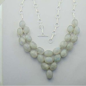 "Lovely Genuine Rainbow Moonstone Silver Jewelry Necklace 22"" Adjustable N-29L4"