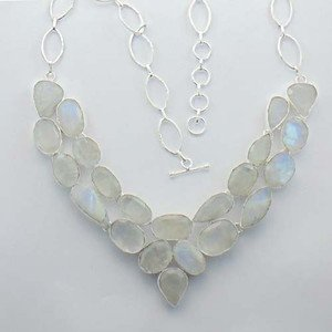 """Fabulous Natural Rainbow Moonstone Silver Jewelry Necklace 20"""" Adjustable N-28L4"""