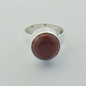 Red Sun Sitara AKA Red gold Stone 925 Sterling Silver Jewelry Ring Sz-7.5 R-84L1
