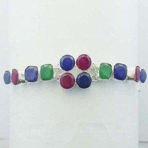 "Elegant Ruby Emerald Blue Sapphire 925 Silver Jewelry Bracelet Sz-7.25"" BR-29L8"