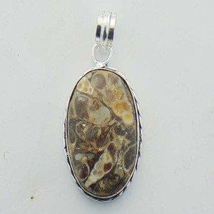 Genuine Handcrafted Jewelry Pendant  Sterling Silver Turritella Agate P-1112L1