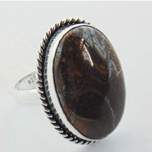 Beautiful Genuine Jewelry Ring made By  925 Silver with JASPER  Sz-9 R-78L1