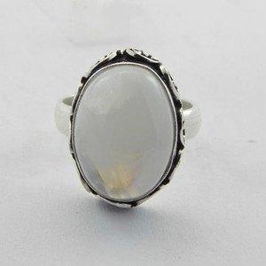 Lovely Rainbow Moonstoe & Sterling 925 Silver HANDMADE Ring Sz-7.5  R-1009L5