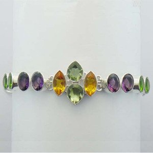 "Sterling Silver Bracelet With Citrine Amethyst And Peridot Sz-7"" BA-34L1"