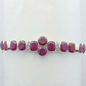 "RUBY Gorgeous 925 Sterling Silver Handmade Jewelry Bracelet Sz-6.5"" BA-31L1"