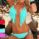 Fashion tassel halter-neck beach sexy swimwear swimsuit sexy fringes bikini set with top and bottom