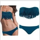 Girl Lady Tassel Padded Boho Fringe Top Strapless Bikini Swimwear Sexy Swimsuit Top and Bottoms