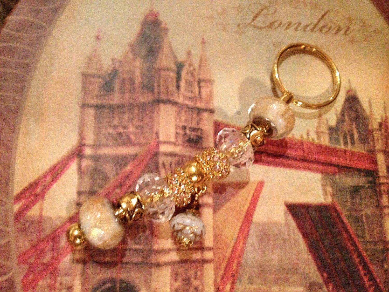 Golden tone Rose euro beads keychain