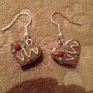 Heart shaped decorated cake earrings
