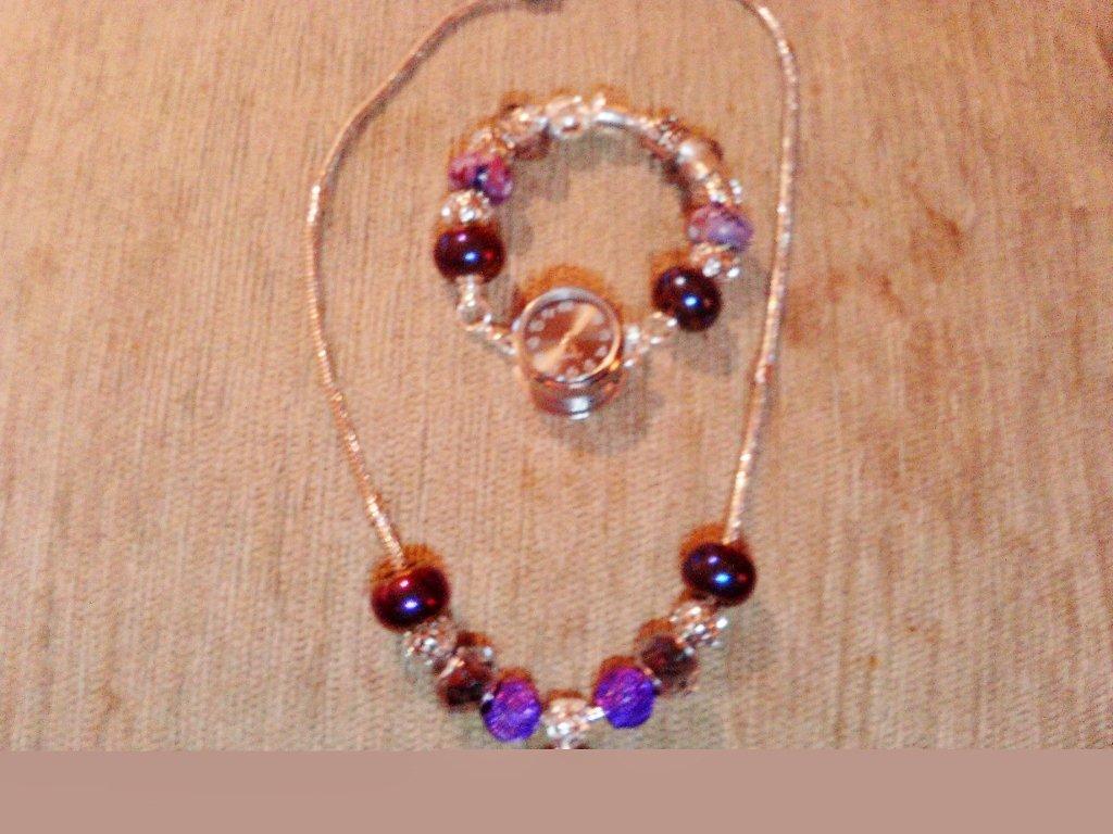 Purple ''Link it'' & snap base watch set