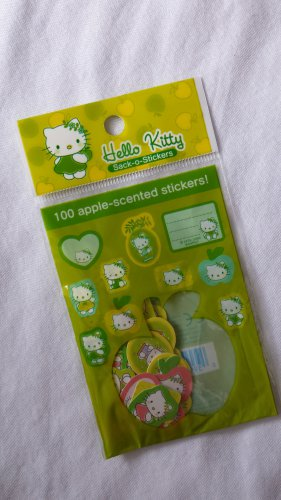 Sanrio Hello Kitty Green Apple Sticker Sack, kawaii