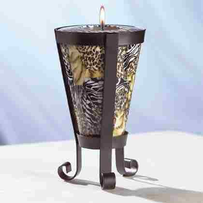 Safari Pattern Cone-Shaped Candle and Holder