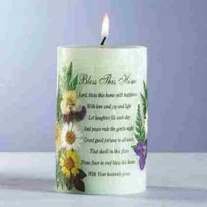 Bless This Home Candle with Dried Flowers