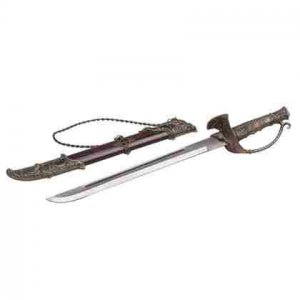 Sword With Protective Handle And Wood Case