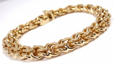 """RARE Vintage Tiffany & Co 14K Yellow Gold Charm Link Bracelet 7.5"""" with box"""