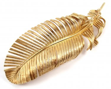 RARE Vintage Tiffany & Co 14K Yellow Gold X-LARGE Feather Pin Brooch GERMANY