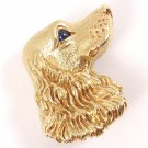 RARE Vintage Tiffany & Co 18K Gold Blue Sapphire Dog Textured 3D Pin Brooch Germany
