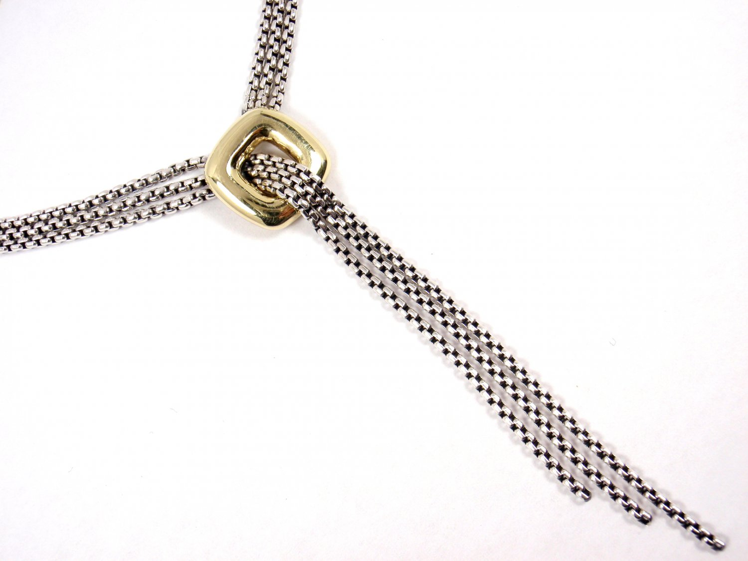 David Yurman Sterling Silver 18K Gold 3 Strand Lariat Box Chain Necklace 16""
