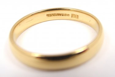 RARE Antique Tiffany & Co 22K Yellow Gold 3mm Wedding Band Ring Size 6.5