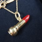 Tiffany & Co Picasso 18K Gold Red Enamel Lipstick Charm Pendant Chain Necklace