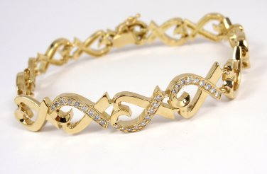 Rare Vintage Tiffany & Co Picasso 18K Gold Diamond Loving Hearts Bracelet 7.5""