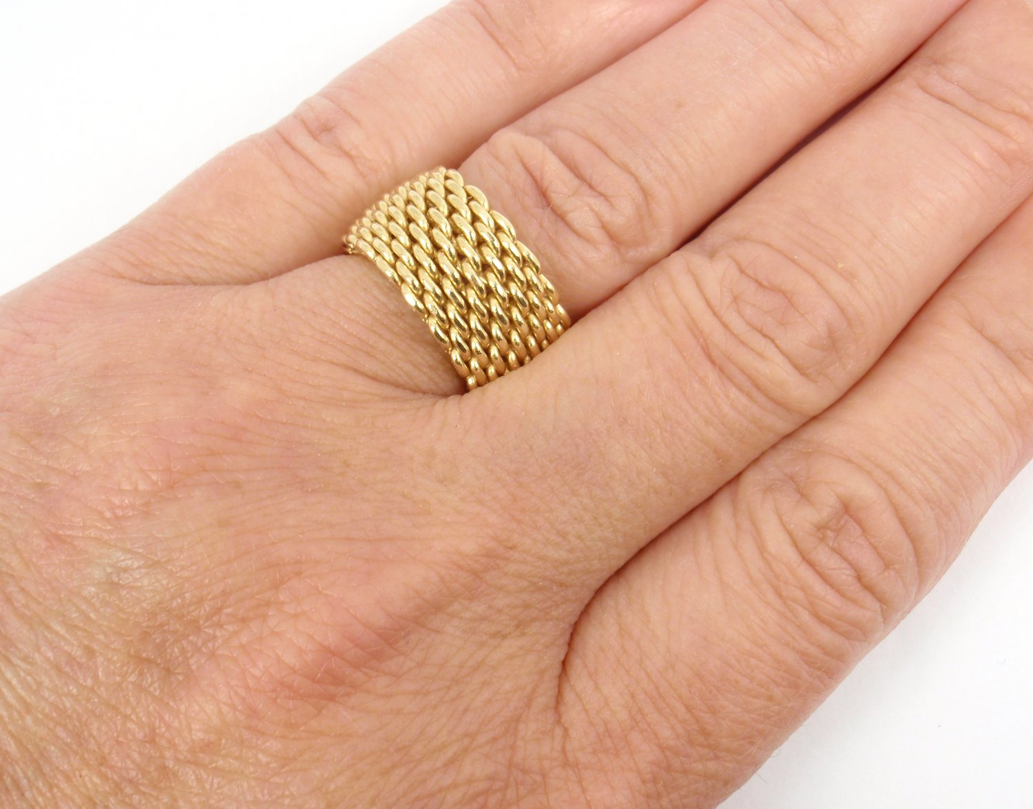 afcec8fe8ebfc $2200 Tiffany & Co 18K Yellow Gold Somerset WIDE Mesh Band Ring Size 7