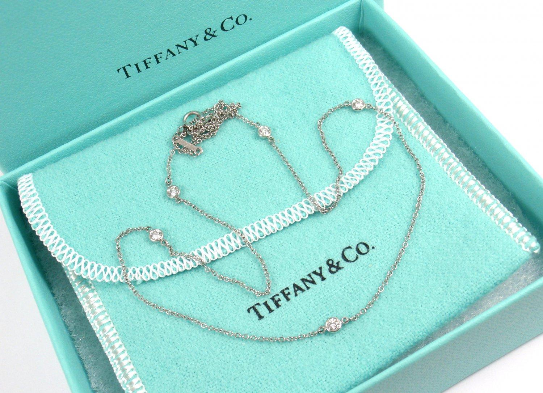 881da8dfd Tiffany & Co Peretti PT950 Platinum 5 Diamonds By The Yard Necklace 18-3/4