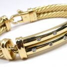 David Yurman Solid 18K Gold 10mm Double Cable Metro Diamond Bracelet