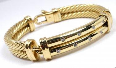 David Yurman Solid 18K Gold 10mm Double Cable Metro Diamond Bracelet