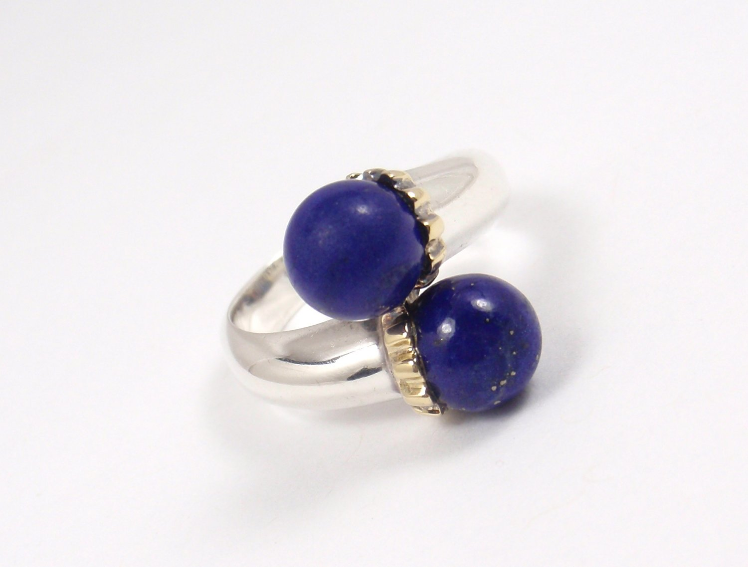 bf86f2de9 Rare Vintage Tiffany & Co Sterling Silver 18K Gold Lapis Lazuli Bypass Ring  Size 5